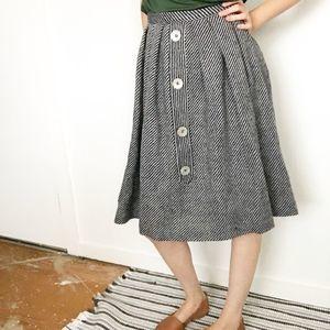 Vintage button skirt knee length midi flannel XS